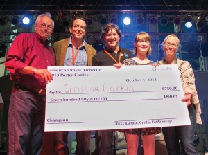 Walz Tetrick's Charlie Tetrick (center), a director of the American Royal, presented Christina Larkin (second from right) with her winnings in the American Royal's poster contest last year. Assisting him, (from left) were Cary Christensen, Bayer Healthcare; Mariner Kemper, UMB; and Cynthia Pistilli Savage, Raphael Hotel Group (right).